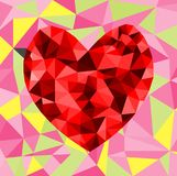 Abstract geometric Polygon heart valentine background. Colorful mosaic pattern Royalty Free Stock Photos