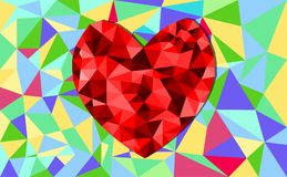 Abstract geometric Polygon heart valentine background. Colorful mosaic pattern Royalty Free Stock Photo