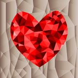 Abstract geometric Polygon heart valentine background. Colorful mosaic pattern Stock Photos