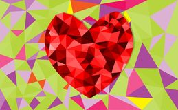 Abstract geometric Polygon heart valentine background. Colorful mosaic pattern Stock Images