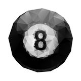 Abstract geometric polygonal 8 ball billiards. Royalty Free Stock Photos