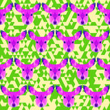 Abstract geometric polygonal deer seamless pattern Stock Photos