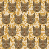 Abstract geometric polygonal lynx seamless pattern Royalty Free Stock Image