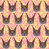 Abstract geometric polygonal lynx seamless pattern Royalty Free Stock Photo