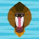 Abstract geometric polygonal mandrill monkey cartoon portrait background Stock Photo