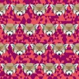 Abstract geometric polygonal red panda seamless pattern Stock Photos