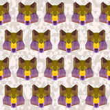 Abstract geometric polygonal wolf seamless pattern Stock Photography