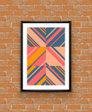 Abstract geometric poster frame on brick wall Stock Photos