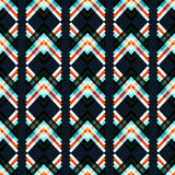 Abstract geometric psychedelic seamless pattern on a black background Stock Images