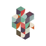 Abstract geometric retro vintage isometric composition background Stock Images