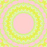 Seamless concentric floral pattern yellow lime green pink stock illustration