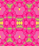 Seamless ornaments pink violet yellow gray. Abstract geometric seamless background. Ornate ellipses and diamond pattern in bright pink with gray and yellow vector illustration