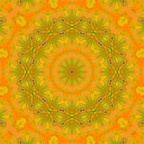 Seamless floral circle ornament yellow orange ocher brown. Abstract geometric seamless background. Ornate floral circle ornament in yellow, orange, ocher brown stock illustration