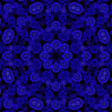 Seamless centered ornament dark blue purple black. Abstract geometric seamless background. Ornate floral ornament with ellipses and spiral elements in dark blue royalty free illustration