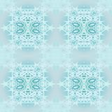 Seamless ornaments turquoise and white on light gray blurred Stock Photos