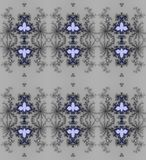Regular delicate ornaments dark gray and black with lilac and dark blue elements on silver gray Stock Images