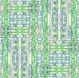 Seamless intricate ornaments green blue purple. Abstract geometric seamless background. Regular intricate ornaments in green, blue, purple and beige shades stock illustration