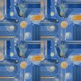 Regular intricate seamless spirals pattern blue beige yellow ocher white shifted Stock Images