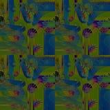 Regular intricate seamless spirals pattern blue green purple Stock Image