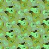 Regular seamless intricate spirals pattern ocher dark brown mint green light gray. Abstract geometric seamless background. Regular intricate spirals pattern Stock Photo