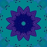 Seamless symmetric blossom dark blue purple turquoise. Abstract geometric seamless floral background. Regular symmetric blossom dark blue and purple on turquoise Stock Photo