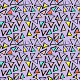 Abstract geometric seamless hand drawn pattern. Modern free hand texture. Colorful geometric doodle background. Stock Photo