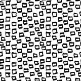 Abstract geometric seamless hand drawn pattern. Modern grunge texture. Monochrome brush painted background. Abstract geometric seamless hand drawn pattern Stock Images