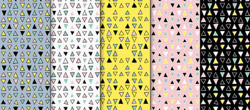 Abstract geometric seamless hand drawn pattern set. Modern free hand textures. Colorful geometric doodle backgrounds. Royalty Free Stock Images