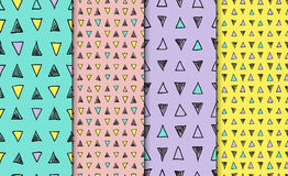 Abstract geometric seamless hand drawn pattern set. Modern free hand textures. Colorful geometric doodle backgrounds. Stock Image