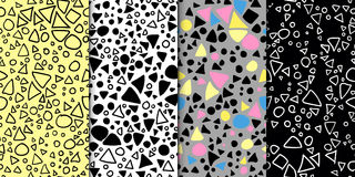 Abstract geometric seamless hand drawn pattern set. Modern free hand textures. Colorful minimalistic doodle backgrounds. Royalty Free Stock Photo