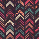 Abstract geometric seamless hand drawn pattern with tribal motifs. Modern texture. Colorful free hand background. Royalty Free Stock Photos