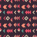 Abstract geometric seamless hand drawn pattern with tribal motifs. Modern texture. Colorful free hand background. Royalty Free Stock Photography