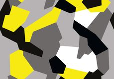 Abstract geometric seamless military camouflage covers pattern. Fashion Style Design gray with yellow. Extreme sport style illustration. Urban stock illustration
