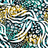 Abstract geometric seamless pattern with animal print. Trendy hand drawn textures Stock Image