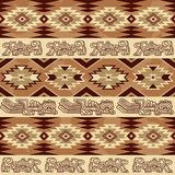 Abstract geometric seamless pattern Aztec traditional ornament. Abstract geometric seamless pattern with aztec traditional ornament. Ethnic tribal ancient Royalty Free Stock Photos