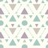 Abstract geometric seamless pattern background with arrows triangles and circles Stock Photo