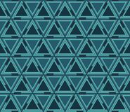 Abstract geometric seamless pattern, background. Graphic mosaic of triangles of blue color. The elements of the pattern are located on a white background Stock Photos