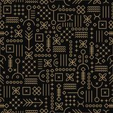 Abstract geometric seamless pattern. Black and gold texture. vector illustration