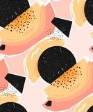 Abstract geometric seamless pattern in black, white, orange and pastel pink. Hand drawn vintage texture, lines, dots Royalty Free Stock Images