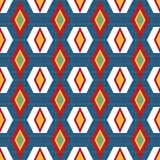 Abstract geometric seamless pattern on blue Royalty Free Stock Photo