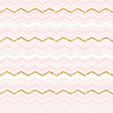 Abstract geometric seamless pattern with chevron. Gold glitter Royalty Free Stock Photography