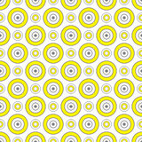 Abstract Geometric Seamless Pattern with Circle Ornament in Yellow and Grey Color. Royalty Free Stock Photo