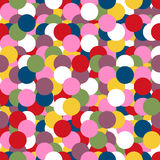 Abstract geometric seamless pattern with circles in bright retro colors.  Stock Photos