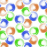Abstract geometric seamless pattern with colored circles and blur elements. Stock Photos