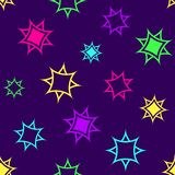 Abstract geometric seamless pattern, colorful stars on dark purple background. Vector vector illustration