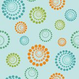 Abstract geometric seamless pattern. Concentric circles of point. S. Different colors and sizes.Orange, Lime and Blue stock illustration