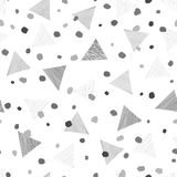 Abstract geometric seamless pattern with dots and triangles. Ornamental white. Abstract geometric seamless pattern with dots. Ornamental white background Stock Photo
