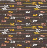 Abstract geometric seamless pattern. Ethnic decorative background with arrows. Royalty Free Stock Photos