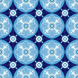 Abstract Geometric Seamless Pattern with Floral Ornament in Blue and Navy Color. Vector seamless pattern royalty free illustration