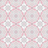 Abstract Geometric Seamless Pattern with Floral Ornament in Rose Pink and Grey Color. Vector seamless pattern royalty free illustration